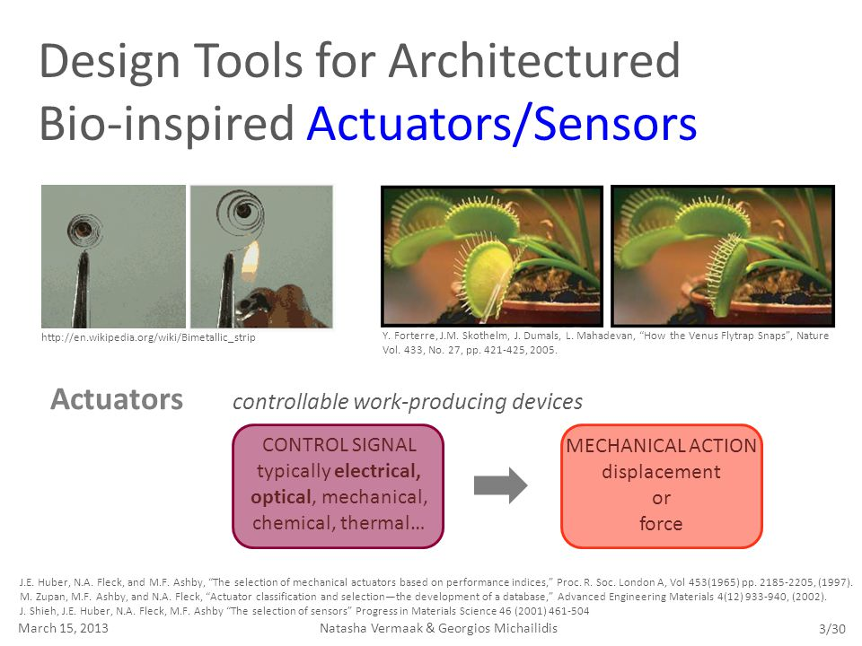 "Design Tools for Architectured Bio-inspired Actuators/Sensors J.E. Huber, N.A. Fleck, and M.F. Ashby, ""The selection of mechanical actuators based on"