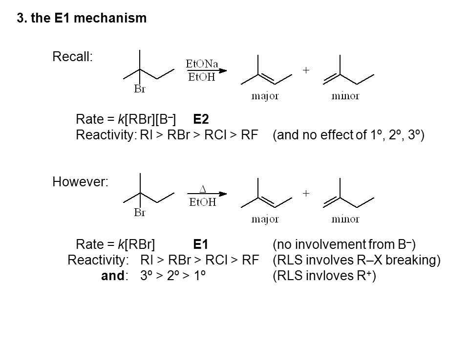 Recall: Rate = k[RBr][B – ]E2 Reactivity: RI > RBr > RCl > RF(and no effect of 1º, 2º, 3º) However: Rate = k[RBr]E1(no involvement from B – ) Reactivi