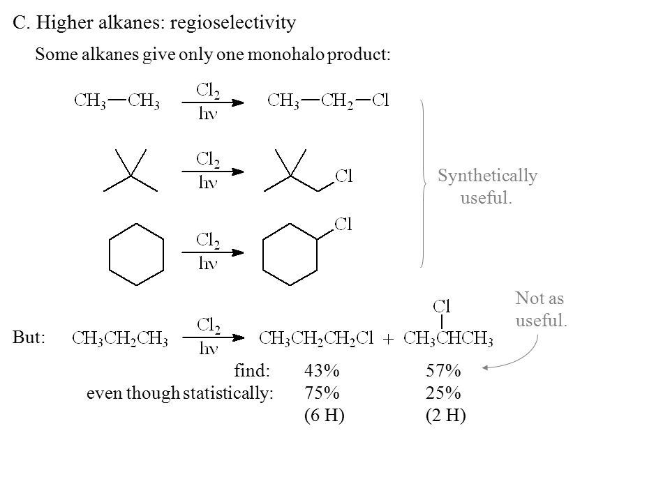 C. Higher alkanes: regioselectivity Some alkanes give only one monohalo product: But: find:43%57% even though statistically:75%25% (6 H)(2 H) Syntheti