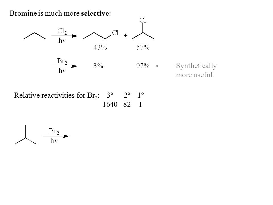 Bromine is much more selective: Relative reactivities for Br 2 :3º2º1º 1640821 Synthetically more useful.
