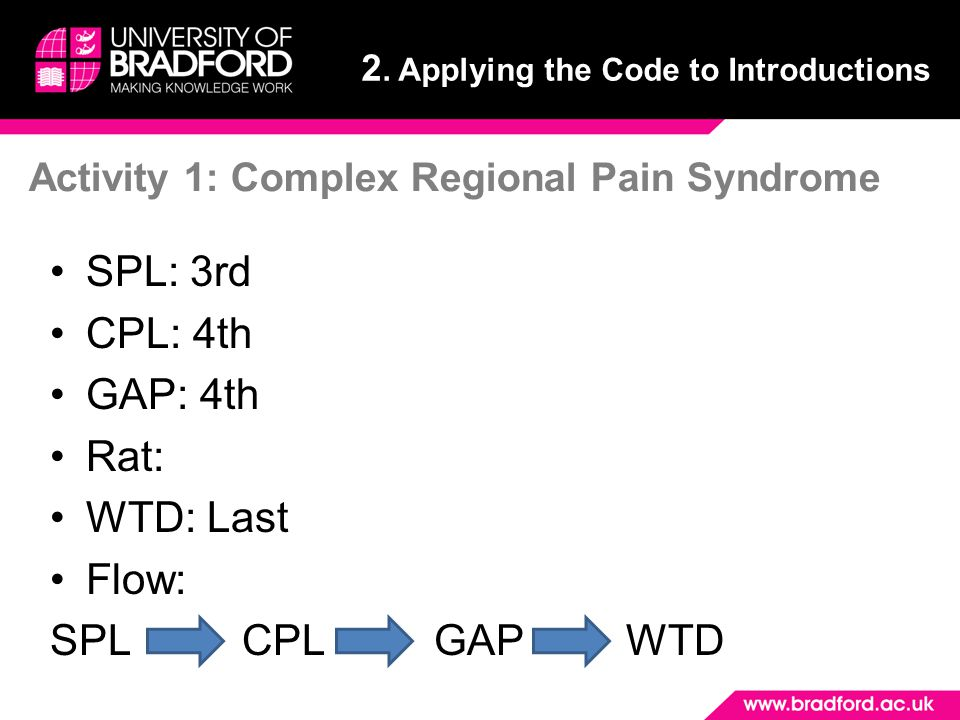 Activity 1: Complex Regional Pain Syndrome SPL: 3rd CPL: 4th GAP: 4th Rat: WTD: Last Flow: SPLCPLGAPWTD 2.