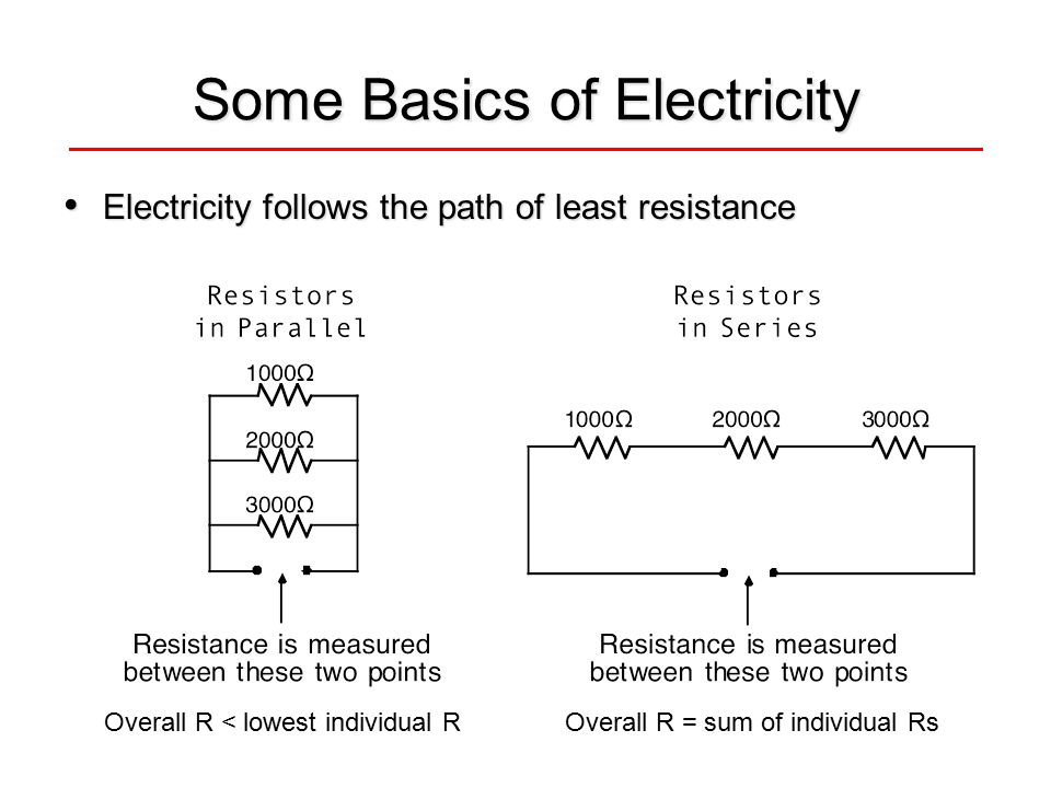 Some Basics of Electricity Electricity follows the path of least resistance Electricity follows the path of least resistance Overall R < lowest indivi