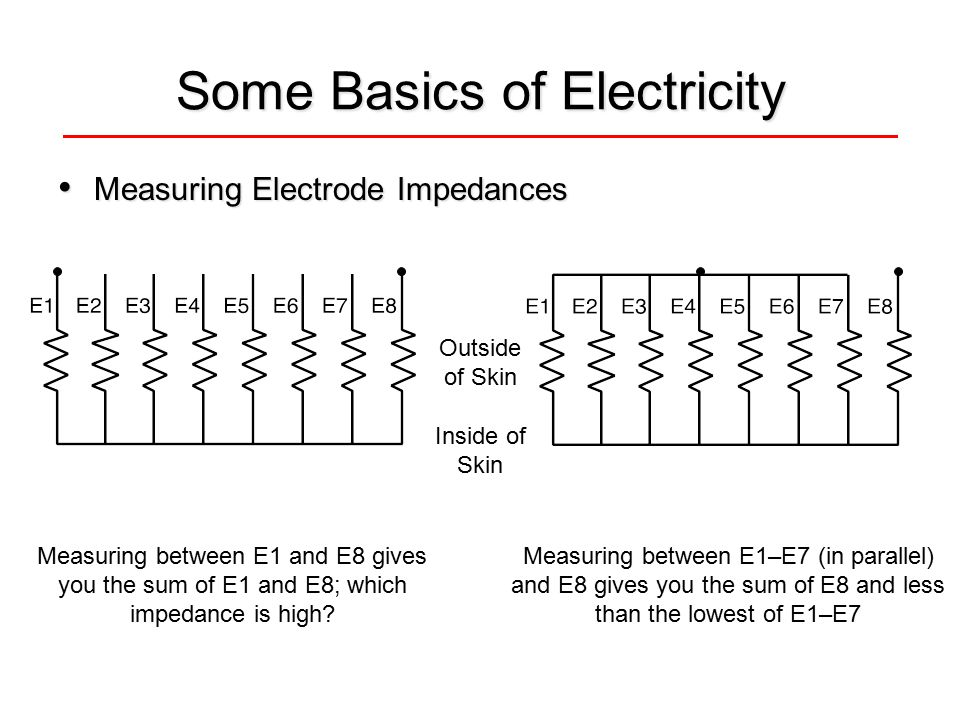 Some Basics of Electricity Measuring Electrode Impedances Measuring Electrode Impedances Measuring between E1 and E8 gives you the sum of E1 and E8; which impedance is high.
