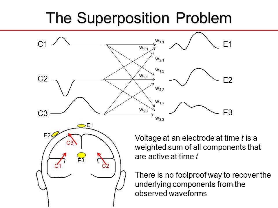 w 1,1 w 2,1 w 3,1 w 1,2 w 2,2 w 3,2 w 1,3 w 2,3 w 3,3 C1 C2 C3 E1 The Superposition Problem C1C2 C3 E2 E1 E3 Voltage at an electrode at time t is a weighted sum of all components that are active at time t There is no foolproof way to recover the underlying components from the observed waveforms E2 E3