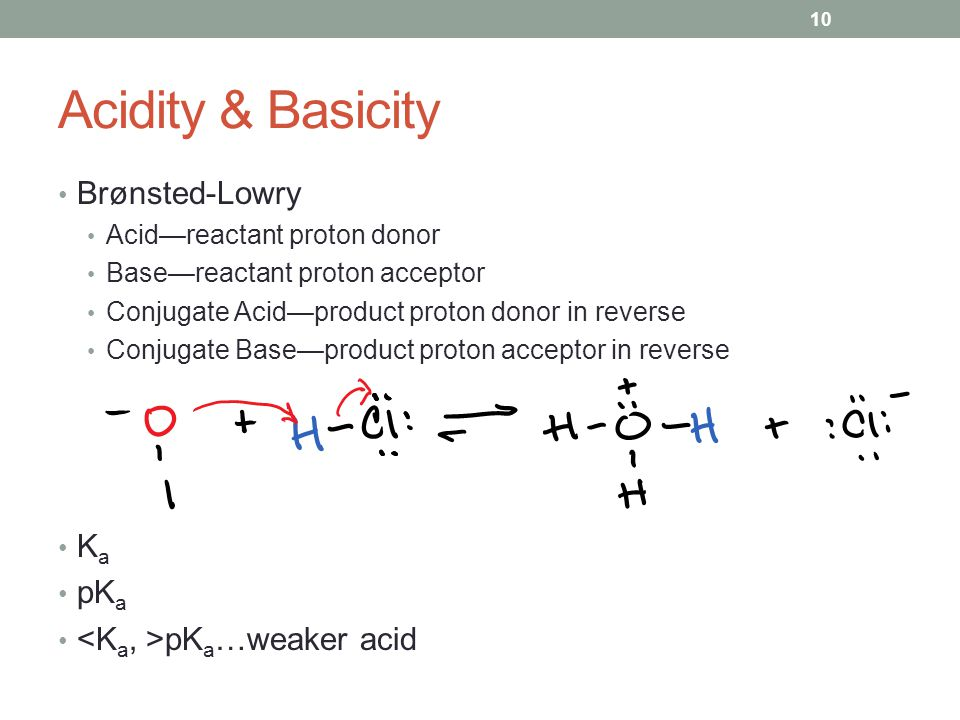 Acidity & Basicity Brønsted-Lowry Acid—reactant proton donor Base—reactant proton acceptor Conjugate Acid—product proton donor in reverse Conjugate Base—product proton acceptor in reverse K a pK a pK a …weaker acid 10