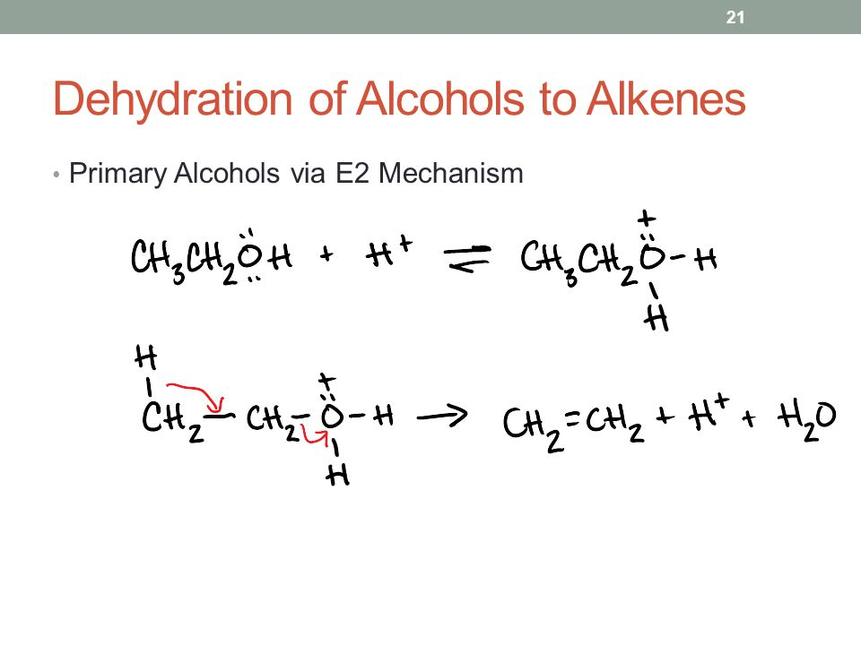 Dehydration of Alcohols to Alkenes Primary Alcohols via E2 Mechanism 21