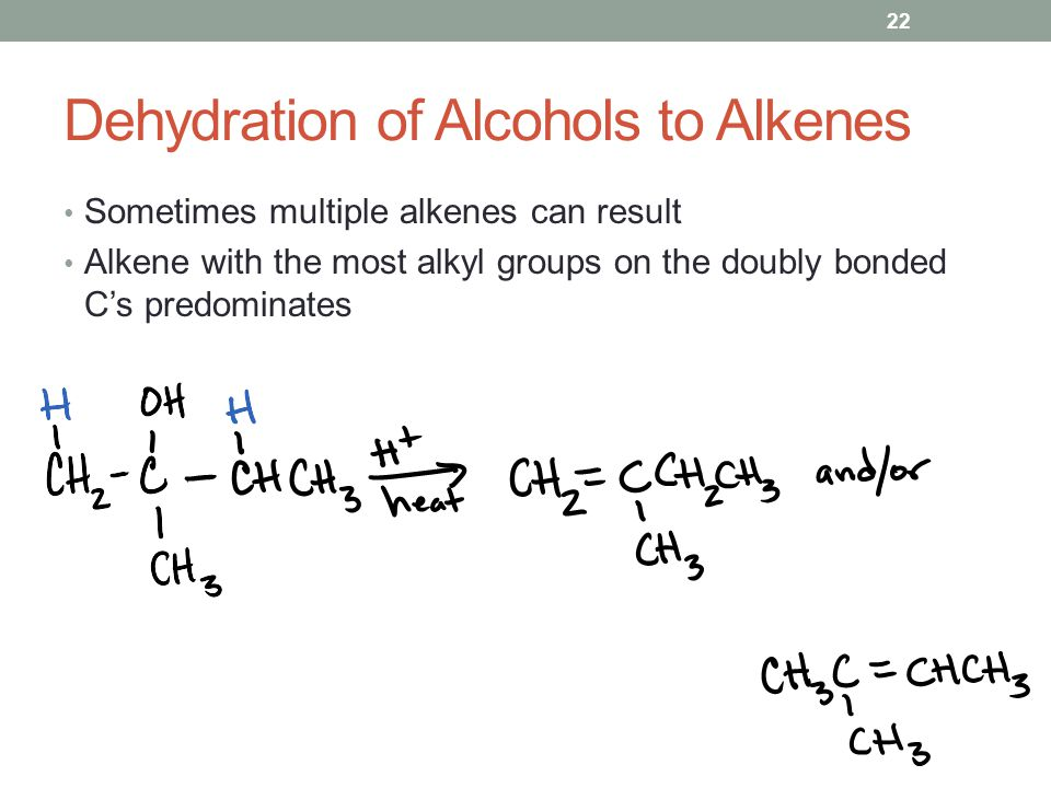 Dehydration of Alcohols to Alkenes Sometimes multiple alkenes can result Alkene with the most alkyl groups on the doubly bonded C's predominates 22