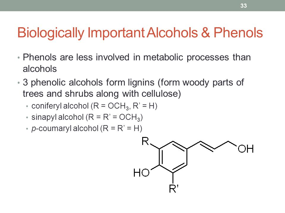 Biologically Important Alcohols & Phenols Phenols are less involved in metabolic processes than alcohols 3 phenolic alcohols form lignins (form woody parts of trees and shrubs along with cellulose) coniferyl alcohol (R = OCH 3, R' = H) sinapyl alcohol (R = R' = OCH 3 ) p-coumaryl alcohol (R = R' = H) 33