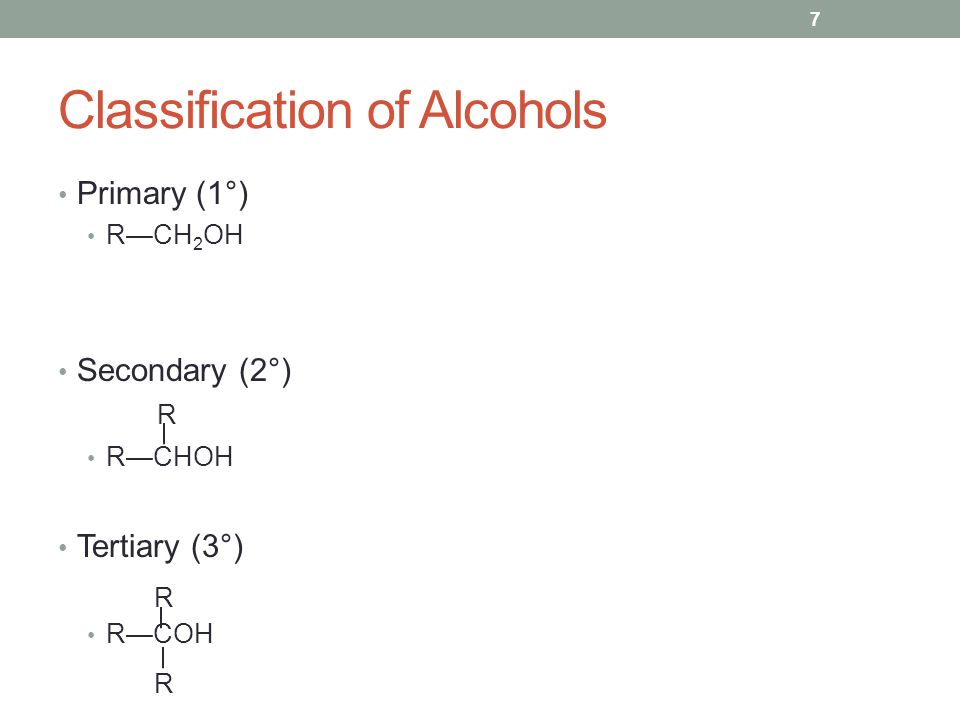 Classification of Alcohols Primary (1°) R—CH 2 OH Secondary (2°) R—CHOH Tertiary (3°) R—COH R R R 7