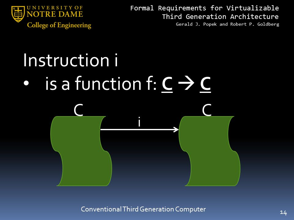Formal Requirements for Virtualizable Third Generation Architecture Gerald J. Popek and Robert P. Goldberg Conventional Third Generation Computer Inst