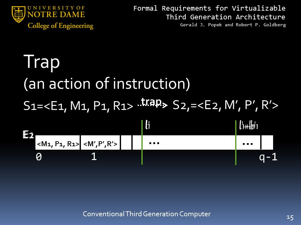 Formal Requirements for Virtualizable Third Generation Architecture Gerald J. Popek and Robert P. Goldberg Conventional Third Generation Computer Trap