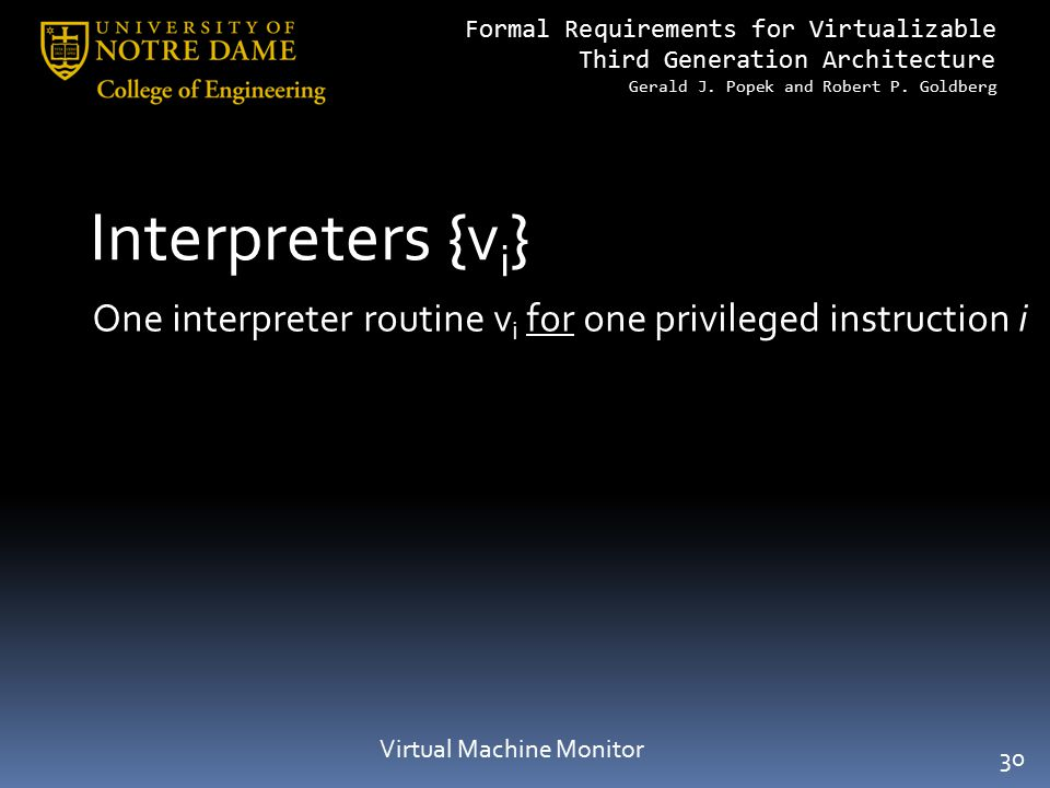 Formal Requirements for Virtualizable Third Generation Architecture Gerald J. Popek and Robert P. Goldberg Interpreters {v i } Virtual Machine Monitor