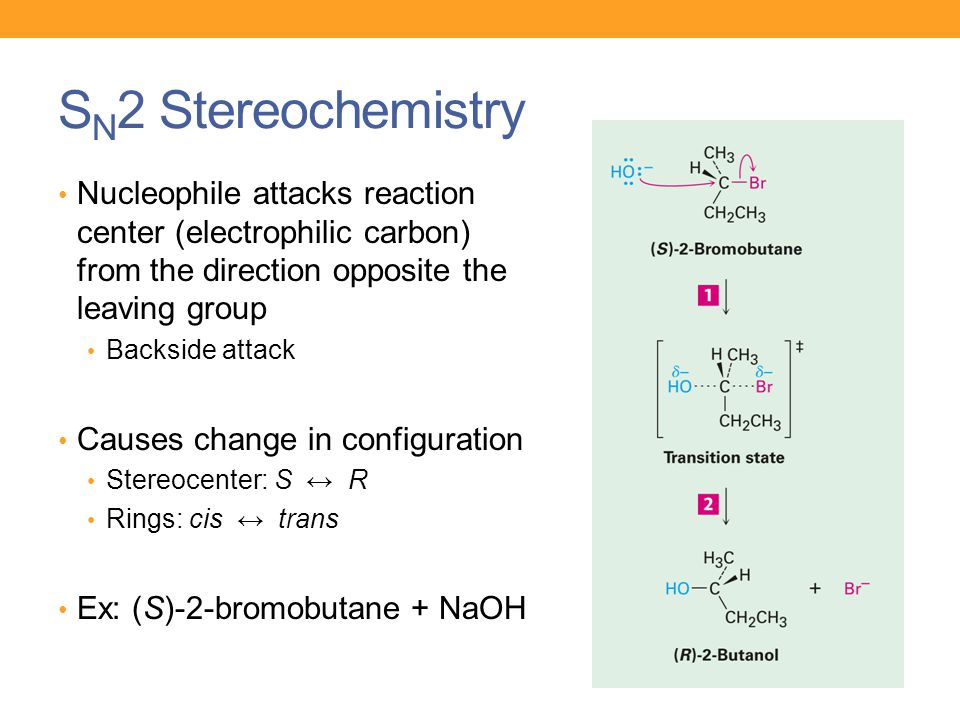 S N 2 Stereochemistry Nucleophile attacks reaction center (electrophilic carbon) from the direction opposite the leaving group Backside attack Causes