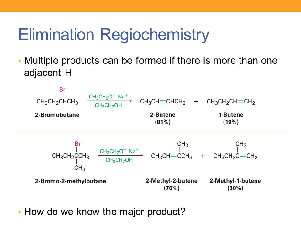 Elimination Regiochemistry Multiple products can be formed if there is more than one adjacent H How do we know the major product?
