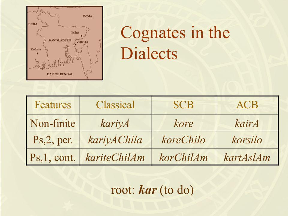 Cognates in the Dialects FeaturesClassicalSCBACB Non-finitekariyAkorekairA Ps,2, per.kariyAChilakoreChilokorsilo Ps,1, cont.kariteChilAmkorChilAmkartAslAm root: kar (to do)