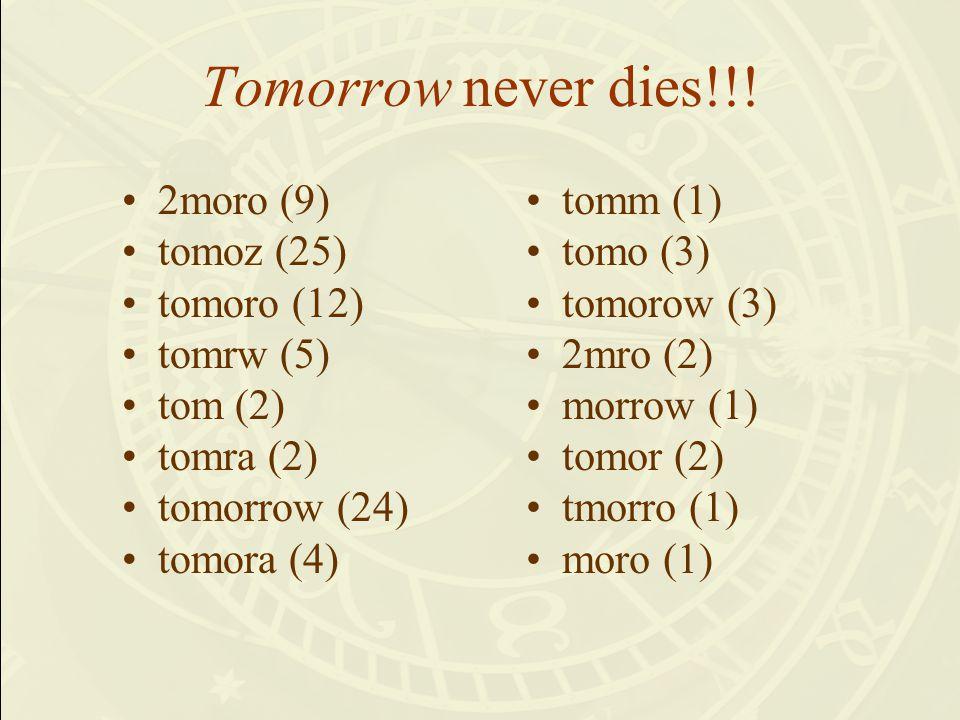 Tomorrow never dies!!.