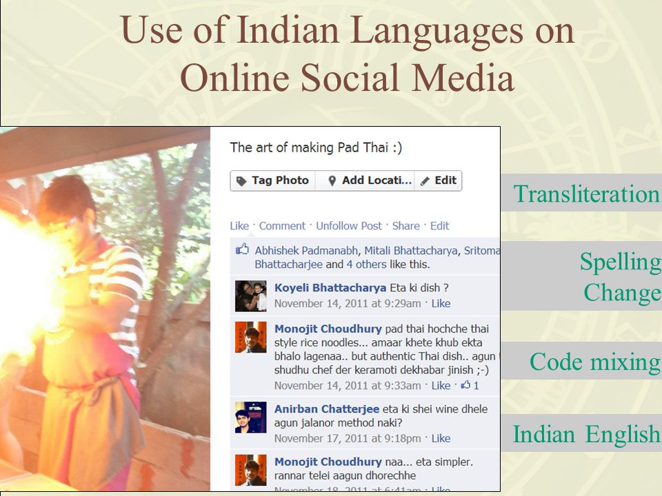 Code mixing Transliteration Spelling Change Indian English Use of Indian Languages on Online Social Media