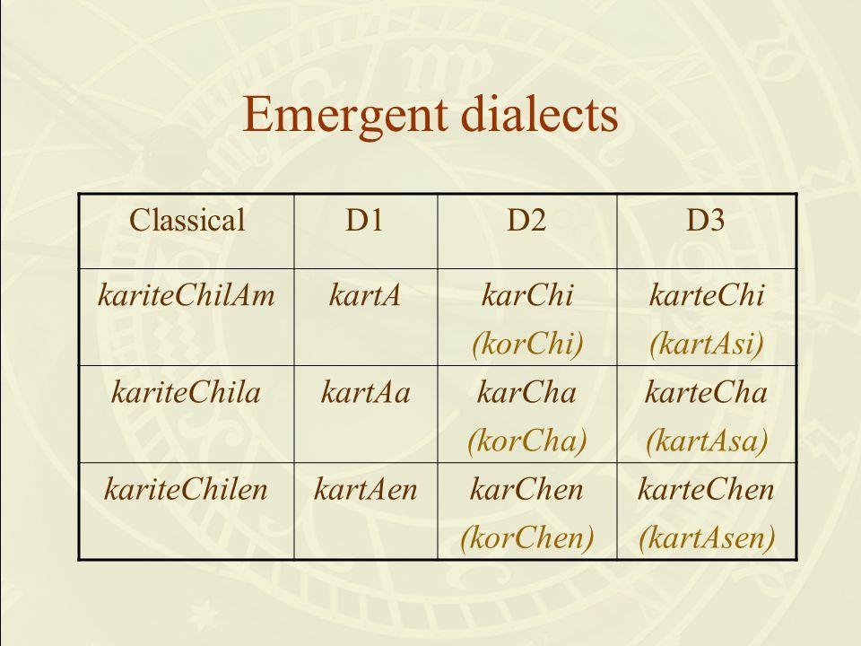Emergent dialects ClassicalD1D2D3 kariteChilAmkartAkarChi (korChi) karteChi (kartAsi) kariteChilakartAakarCha (korCha) karteCha (kartAsa) kariteChilenkartAenkarChen (korChen) karteChen (kartAsen)