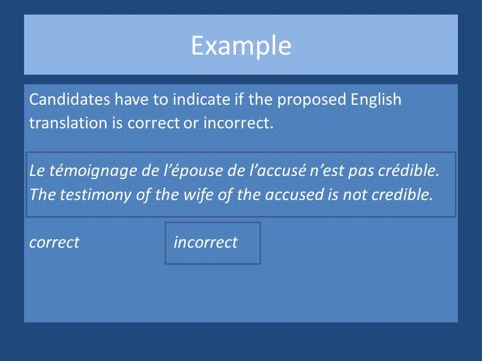 Example Candidates have to indicate if the proposed English translation is correct or incorrect.