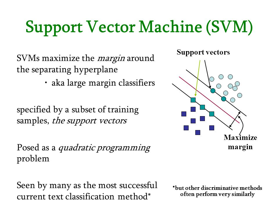 Support Vector Machine (SVM) Support vectors Maximize margin SVMs maximize the margin around the separating hyperplane aka large margin classifiers sp