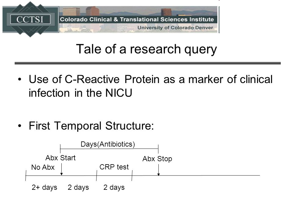 Tale of a research query Use of C-Reactive Protein as a marker of clinical infection in the NICU First Temporal Structure: No Abx 2+ days CRP test 2 d