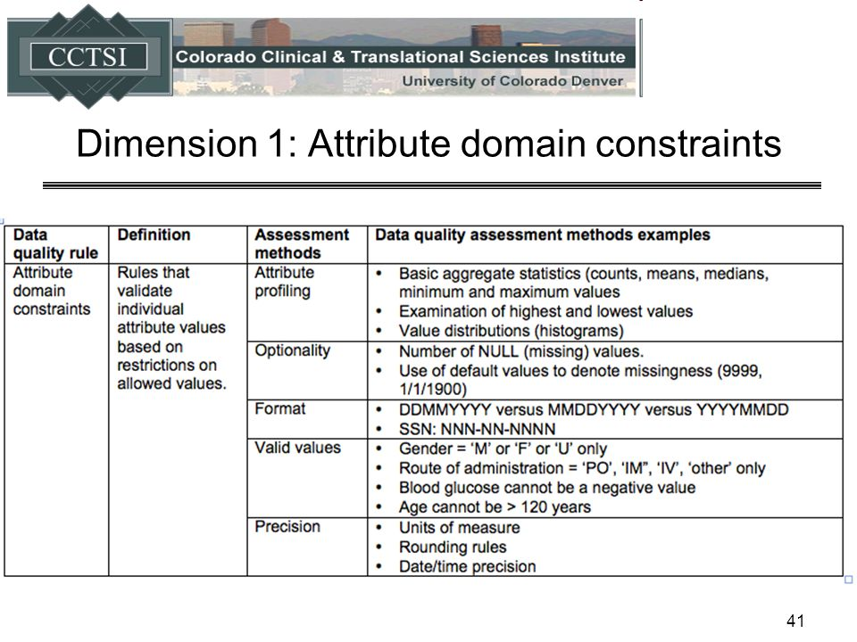 Dimension 1: Attribute domain constraints 41