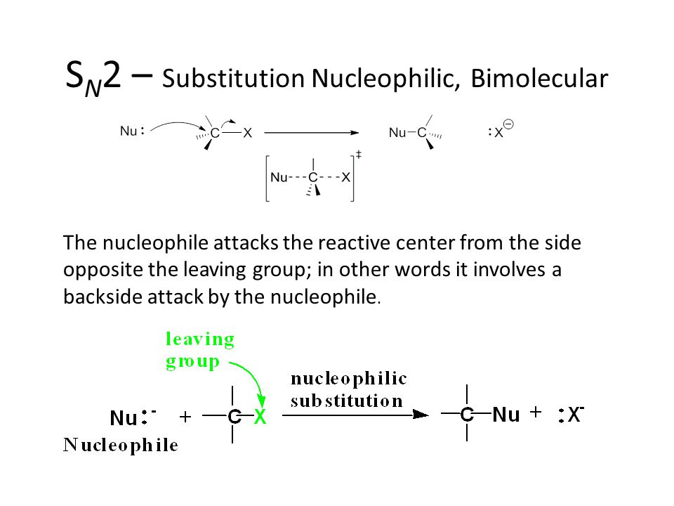 S N 2 – Substitution Nucleophilic, Bimolecular The nucleophile attacks the reactive center from the side opposite the leaving group; in other words it involves a backside attack by the nucleophile.