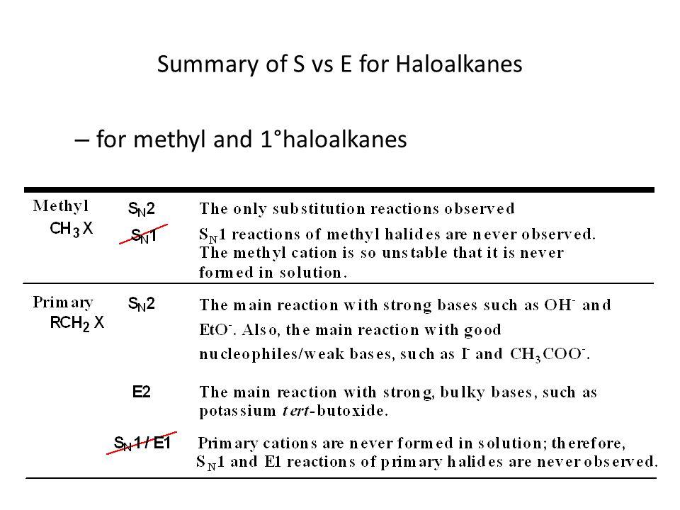 Summary of S vs E for Haloalkanes – for methyl and 1°haloalkanes