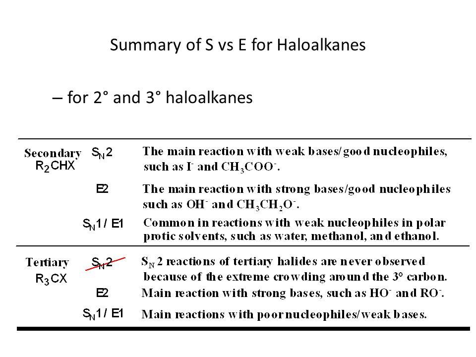 Summary of S vs E for Haloalkanes – for 2° and 3° haloalkanes