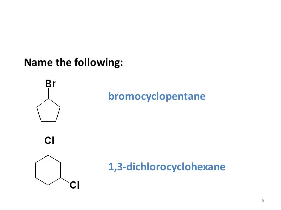 Timberlake LecturePLUS 19998 Name the following: bromocyclopentane 1,3-dichlorocyclohexane