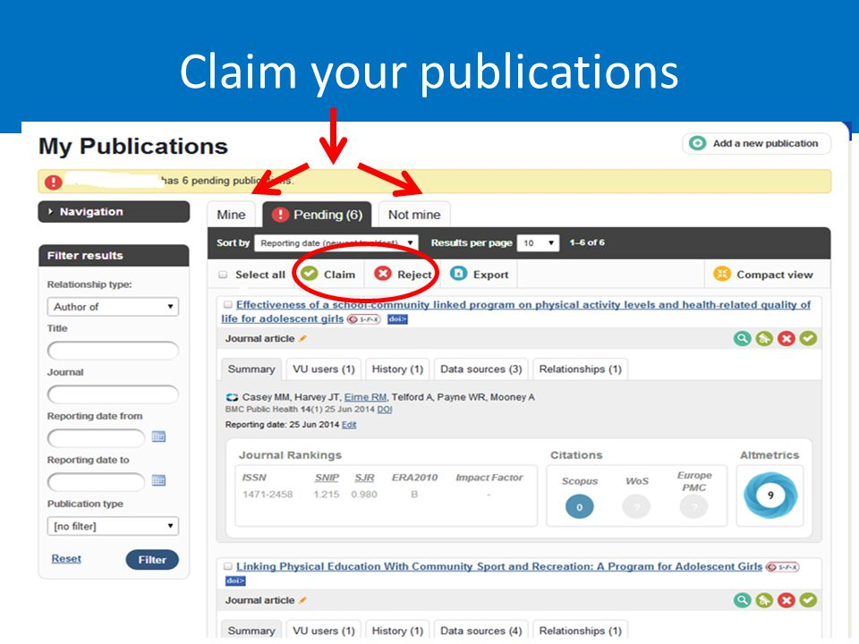 Claim your publications Lyle.Winton@vu.edu.au 16