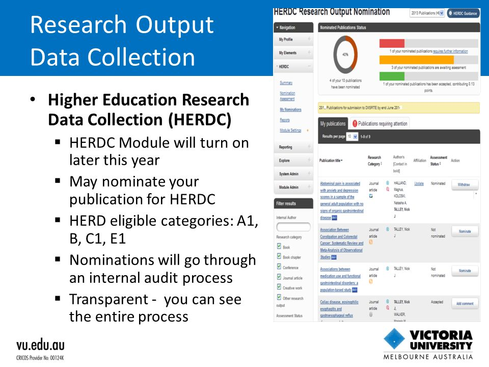 Research Output Data Collection Higher Education Research Data Collection (HERDC)  HERDC Module will turn on later this year  May nominate your publ