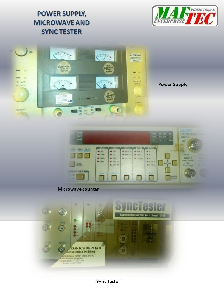 POWER SUPPLY, MICROWAVE AND SYNC TESTER Sync Tester Microwave counter Power Supply