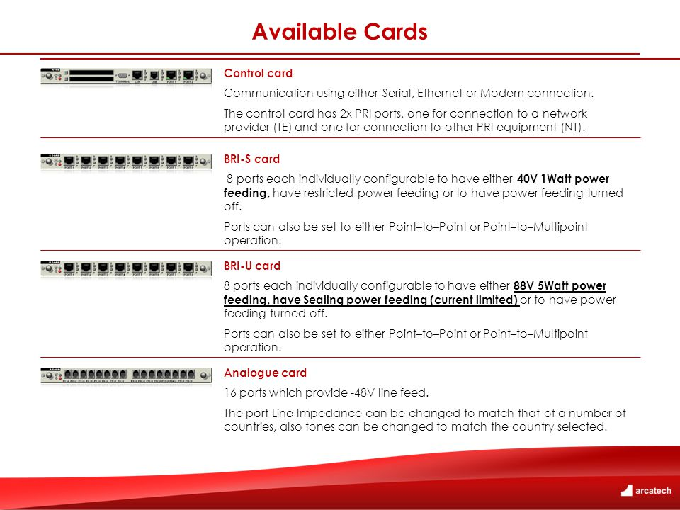 Available Cards Control card Communication using either Serial, Ethernet or Modem connection.