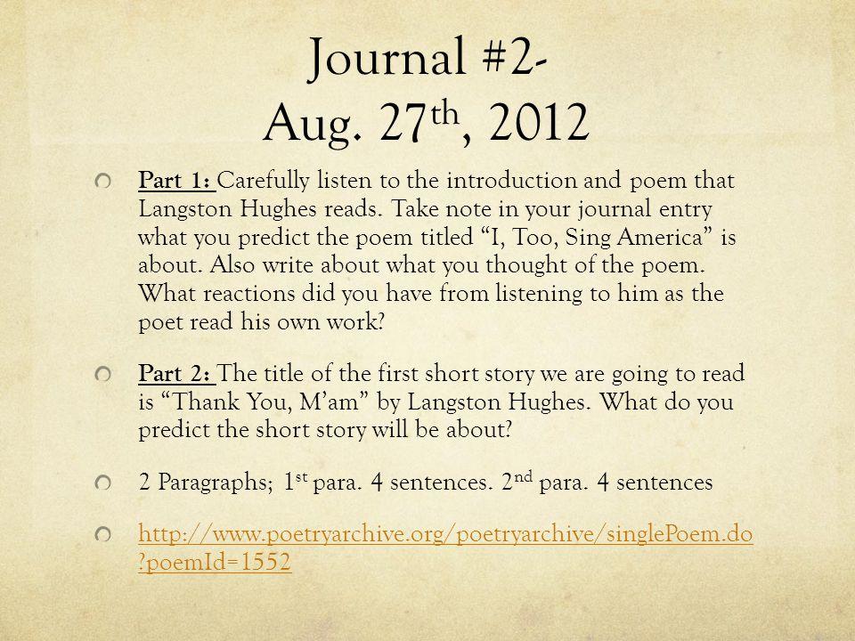 Journal #2- Aug.