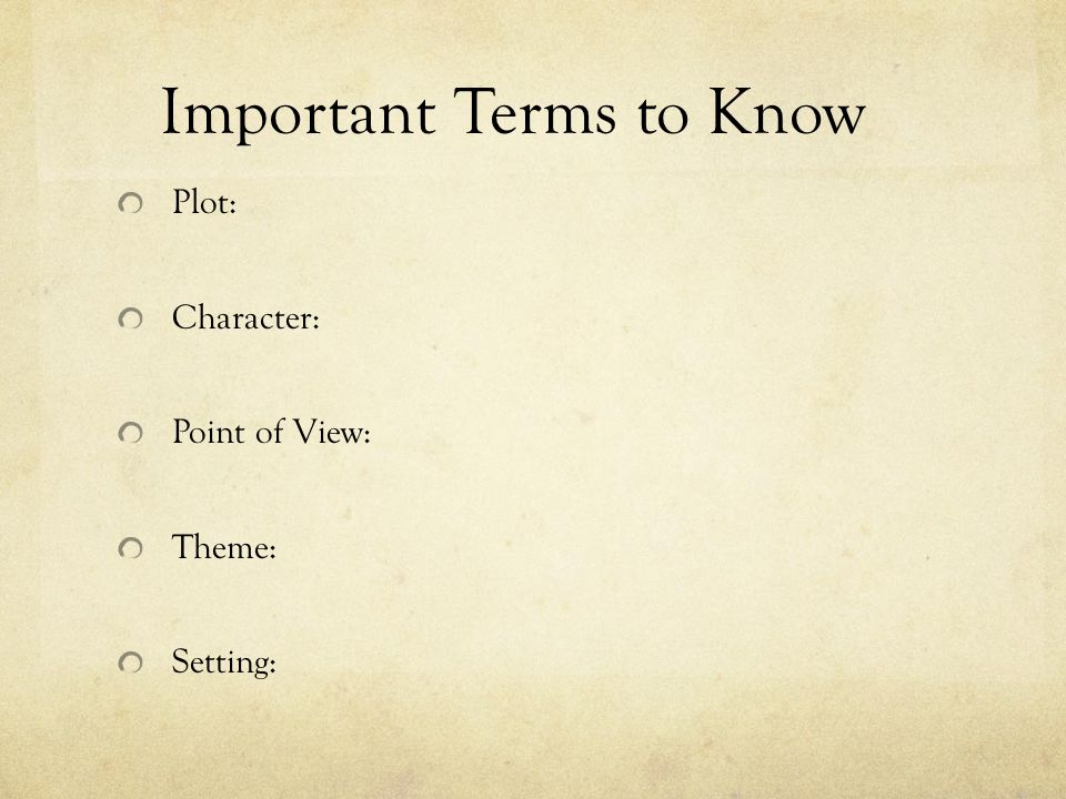 Characters and Characterization The characters in a story are the individuals that take part in the action.