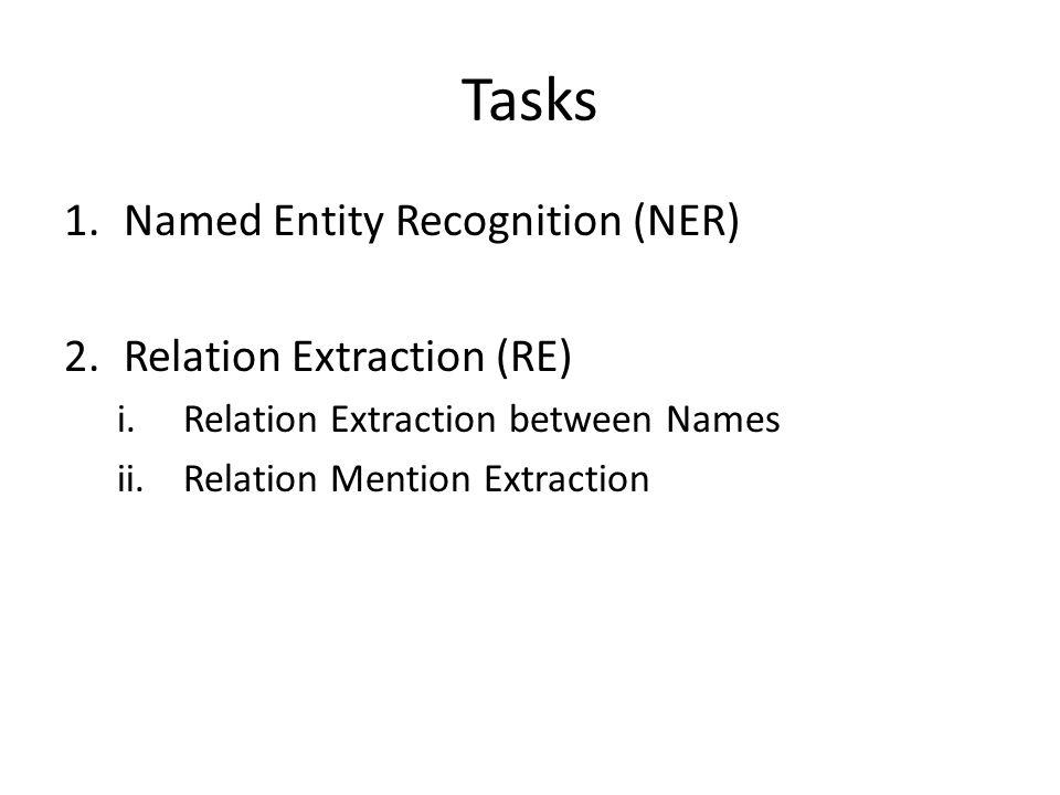 Tasks 1.Named Entity Recognition (NER) 2.Relation Extraction (RE) i.Relation Extraction between Names ii.Relation Mention Extraction