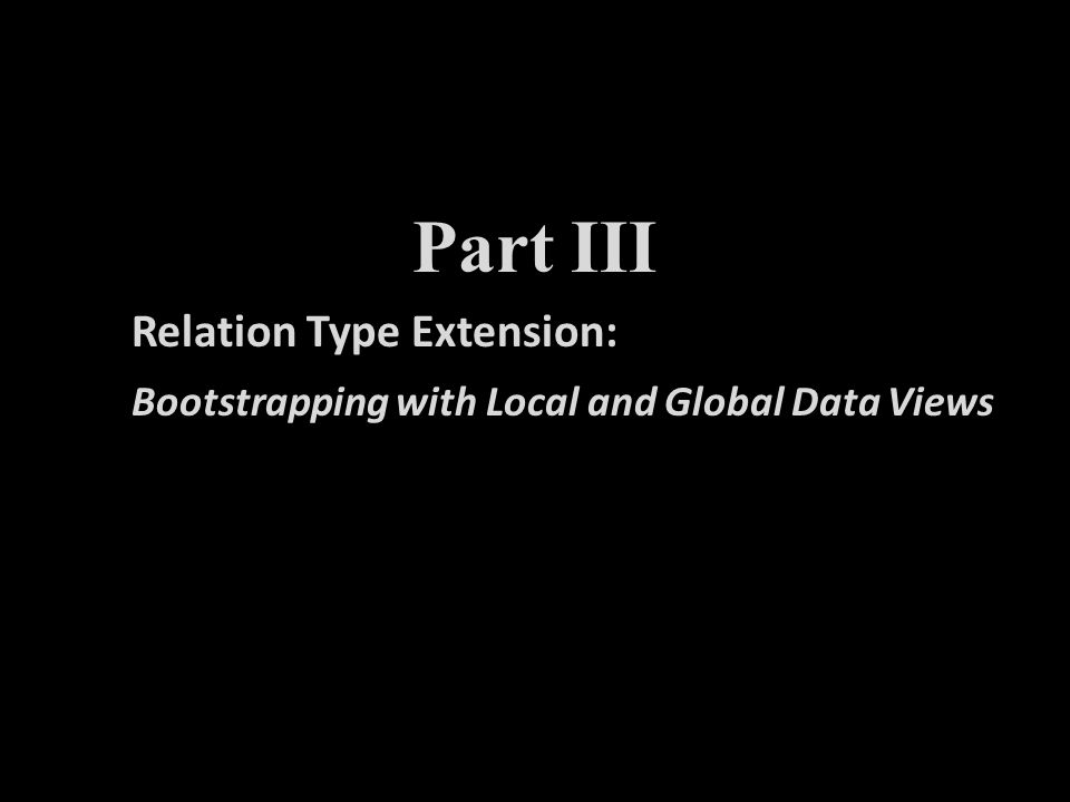Part I Part III Relation Type Extension: Bootstrapping with Local and Global Data Views