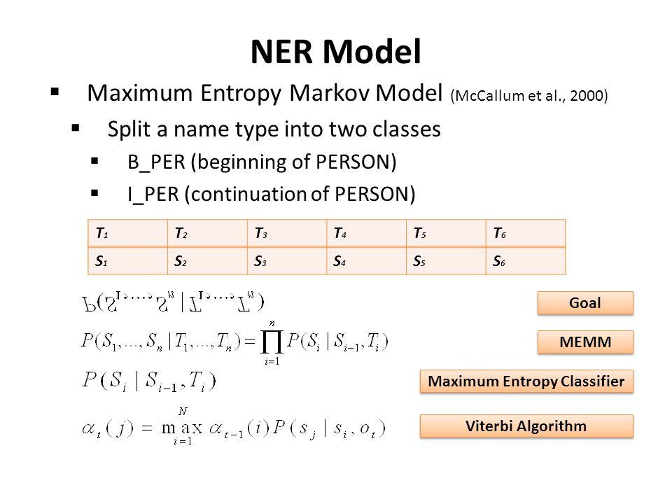 NER Model  Maximum Entropy Markov Model (McCallum et al., 2000)  Split a name type into two classes  B_PER (beginning of PERSON)  I_PER (continuation of PERSON) U.S.DefenseSecretaryDonaldH.Rumsfeld B_GPEB_ORGOB_PERI_PER T1T1 T2T2 T3T3 T4T4 T5T5 T6T6 S1S1 S2S2 S3S3 S4S4 S5S5 S6S6 Goal MEMM Maximum Entropy Classifier Viterbi Algorithm