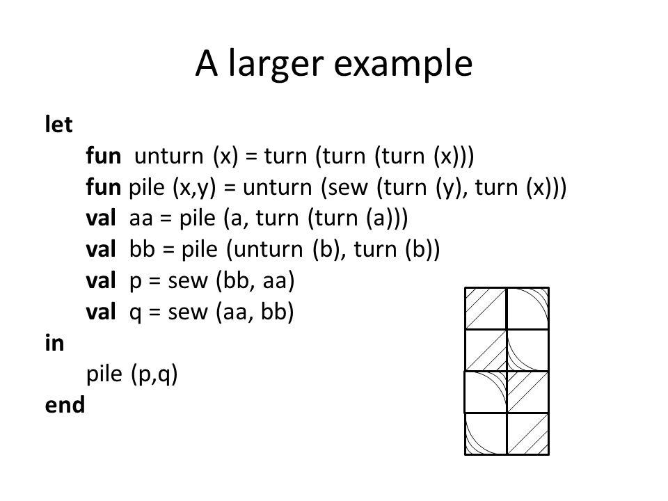 A larger example let fun unturn (x) = turn (turn (turn (x))) fun pile (x,y) = unturn (sew (turn (y), turn (x))) val aa = pile (a, turn (turn (a))) val bb = pile (unturn (b), turn (b)) val p = sew (bb, aa) val q = sew (aa, bb) in pile (p,q) end