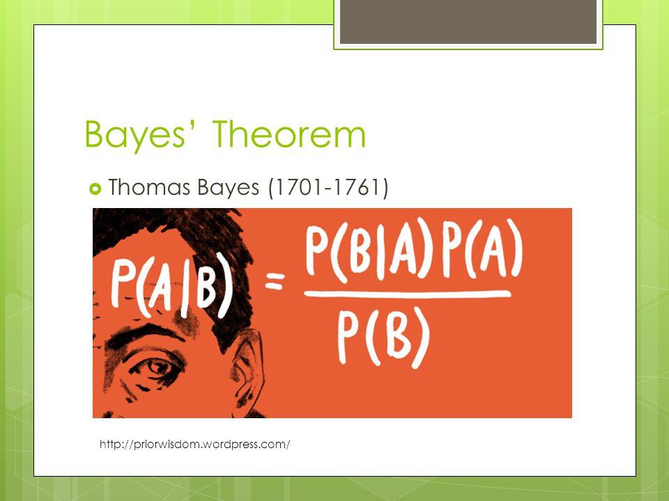 Bayes' Theorem  Thomas Bayes (1701-1761) http://priorwisdom.wordpress.com/