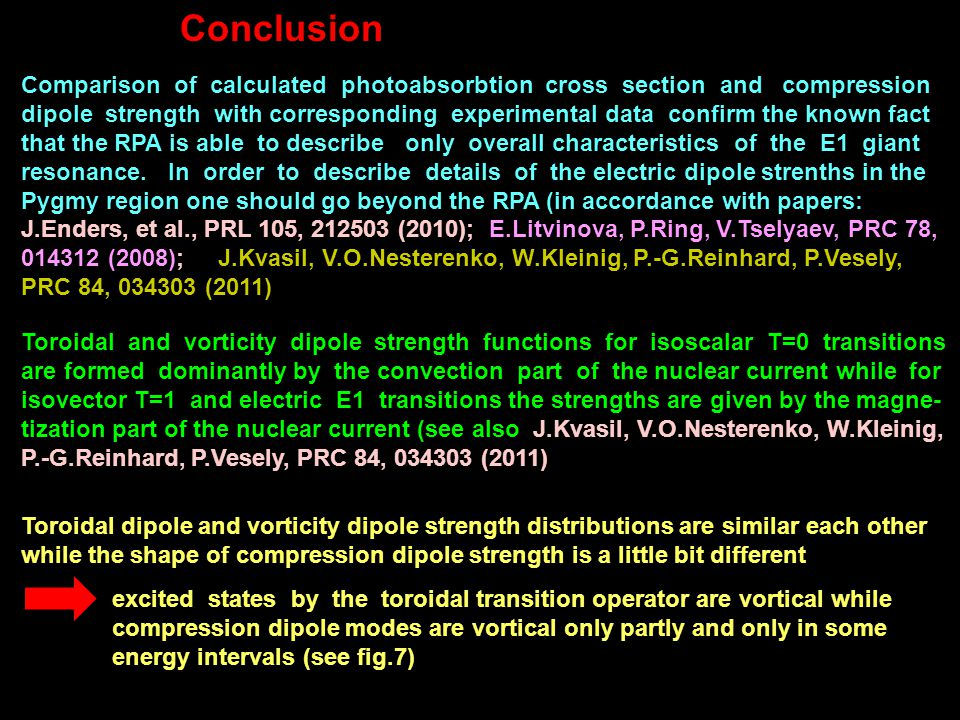 Conclusion Comparison of calculated photoabsorbtion cross section and compression dipole strength with corresponding experimental data confirm the known fact that the RPA is able to describe only overall characteristics of the E1 giant resonance.
