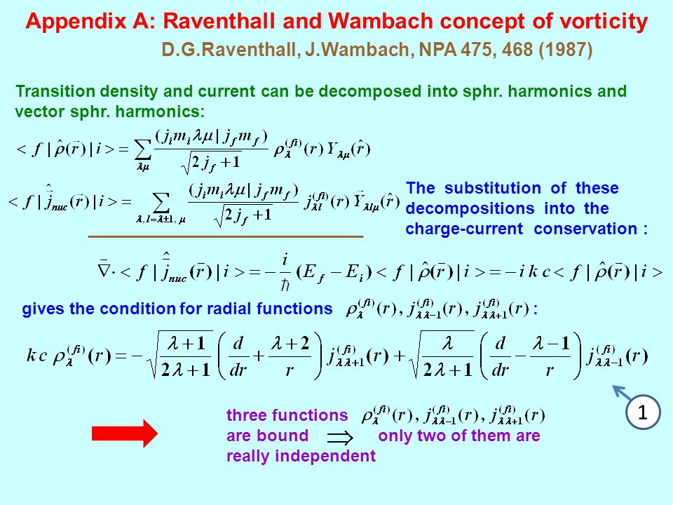 Appendix A: Raventhall and Wambach concept of vorticity D.G.Raventhall, J.Wambach, NPA 475, 468 (1987) Transition density and current can be decomposed into sphr.