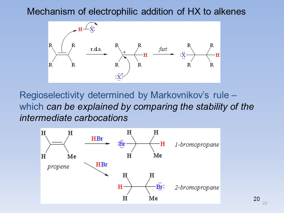 20 Mechanism of electrophilic addition of HX to alkenes Regioselectivity determined by Markovnikov's rule – which can be explained by comparing the st