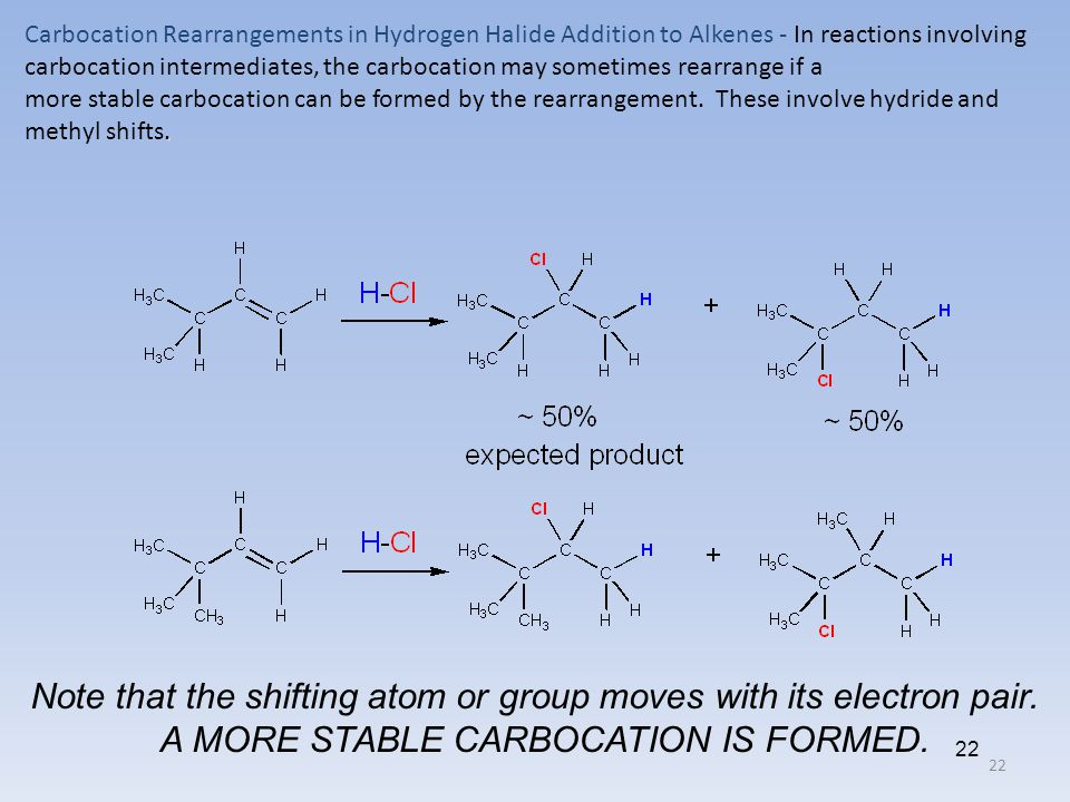 22 Carbocation Rearrangements in Hydrogen Halide Addition to Alkenes - In reactions involving carbocation intermediates, the carbocation may sometimes