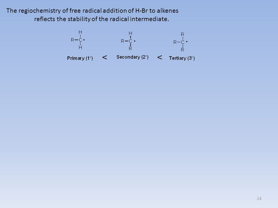 24 The regiochemistry of free radical addition of H-Br to alkenes reflects the stability of the radical intermediate.