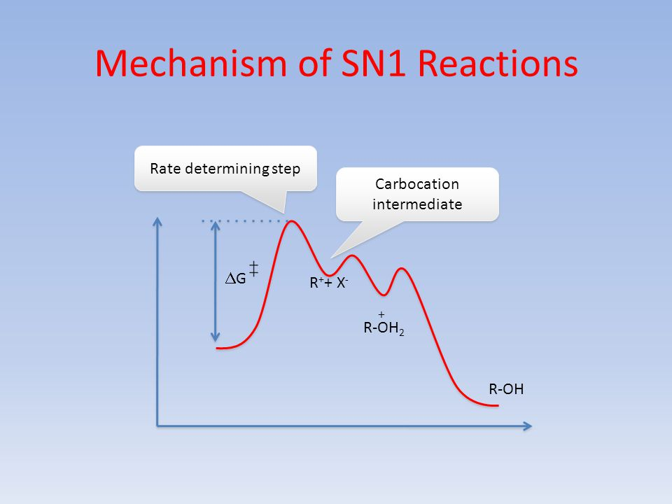 Mechanism of SN1 Reactions G G Rate determining step Carbocation intermediate R + + X - R-OH 2 + R-OH