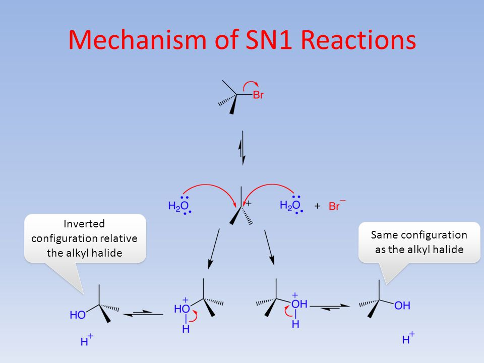 Mechanism of SN1 Reactions Same configuration as the alkyl halide Inverted configuration relative the alkyl halide