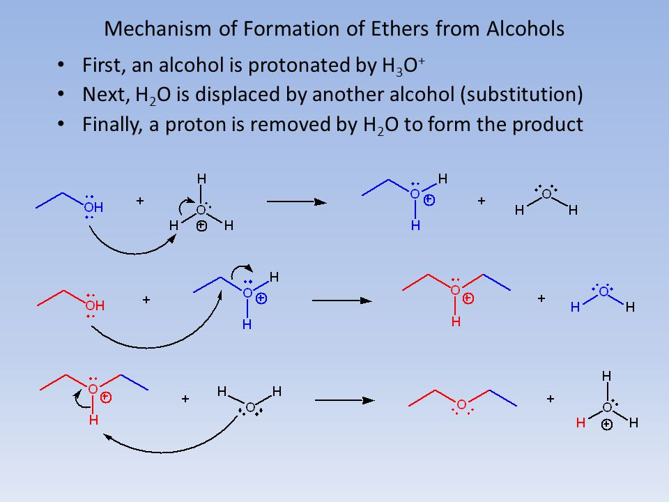 Mechanism of Formation of Ethers from Alcohols First, an alcohol is protonated by H 3 O + Next, H 2 O is displaced by another alcohol (substitution) F