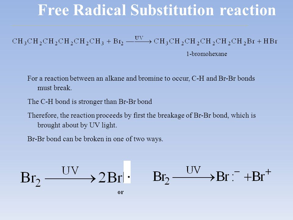 Free Radical Substitution reaction For a reaction between an alkane and bromine to occur, C-H and Br-Br bonds must break. The C-H bond is stronger tha